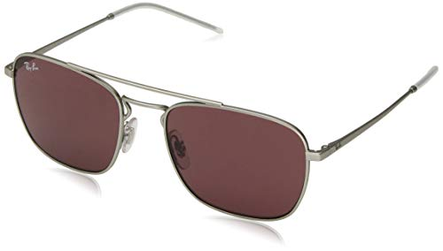 RAY-BAN RB3588 Square Metal Sunglasses, Rubber Silver/Violet, 55 mm (Rayban Square Sunglasses Men)