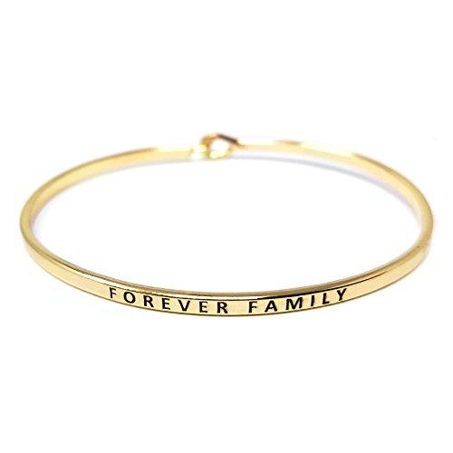 Me Plus Inspirational Forever Family Positive Message Engraved Thin Bangle Hook Bracelet