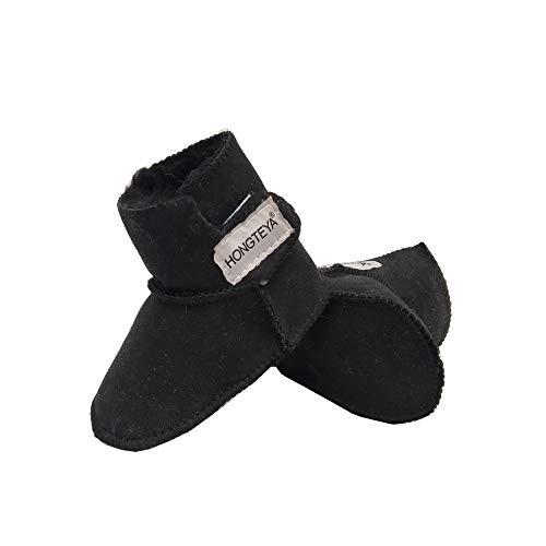 HONGTEYA Sheepskin Baby Bootie -100% Pure Australian Sheepskin Baby Girl's Winter Boots (Infant) (14cm 5.51inch 6-12months, Black) ()