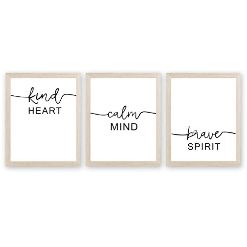 Inspirational Words Art Print Motivational Quote Canvas Painting, Set of 3<8x10 inch>Canvas Inspiring Lettering Printing Poster for Classroom Bedroom Decor『Framed, Ready to Hang』 (Framed Inspirational Art)