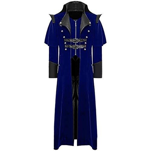 Men's Print Coat Tailcoat Jacket Gothic Frock Coat Uniform Costume Party Outwear Blue