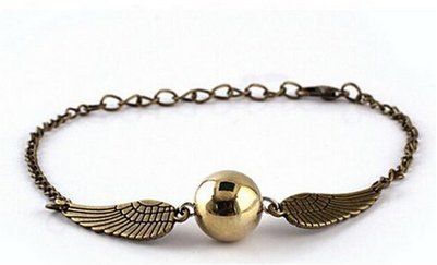 Cosmetics Fashion Jewelry (Harry Potter Quidditch Golden Snitch Bracelets chain fashion golden jewelry fan gift)