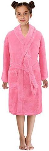 Fleece Bathrobe Unisex Girl Boy Soft Plush Flannel Kimino Robe Sleepwear Pajamas