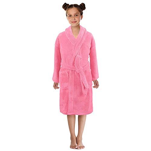 Boys Girls Flannel Bathrobes,3-12 Years Toddler Towel Night-Gown Pajamas Sleepwear (9-12 Years, Pink)]()