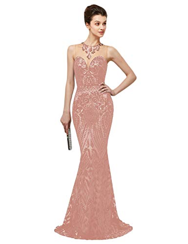 (YSMei Women's Sweetheart Sequin Prom Dress Long Mermaid Evening Gown Rose Gold 18Plus)