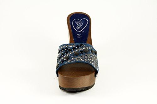 SilferShoes - Zoccolo in vero legno e pelle di camoscio con brillantini, colore blue jeans