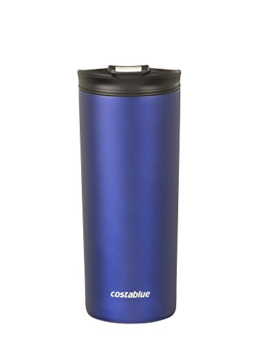 Costablue Vacuum Insulated Stainless Steel Travel mug , 16 Oz Easy to clean and leak proof lid, Color Matte Blue