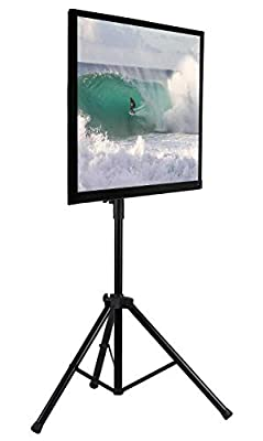 Mount-It! LCD Flat Panel TV Tripod, Portable TV Stand Fits LCD LED Flat Screen TV sizes 32-70 inch, Adjustable Height Pole, Supports up to 77 lbs and VESA 600x400 (MI-874), Black,