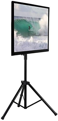 Mount-It TV Tripod Floor Stand Portable Tilting TV Stand for 32-70 Inch Flat Screen Displays, Quick Assemble, Height Adjustable, Pole Supports 77 Lbs, Up to VESA 600×400