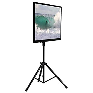 Mount-It! TV Tripod Stand | Portable TV Stand for 32-70 Inch Flat Screen Displays, Height Adjustable Pole Supports 77 Lbs, Up to VESA 600x400