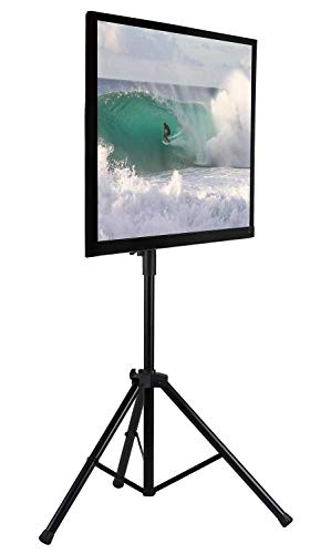 Mount-It! LCD Flat Panel TV Tripod, Portable TV Stand Fits LCD LED Flat Screen TV sizes 32-70 inch, Adjustable Height Pole, Supports up to 77 lbs and VESA 600x400 (MI-874), Black,  (Upright Tv Stand)