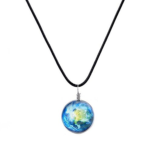 Galaxy & Cosmic Earth Glass Pendant Necklace, 16'' Leather Rope, Great Gift for - Deal For With Sale It Glasses