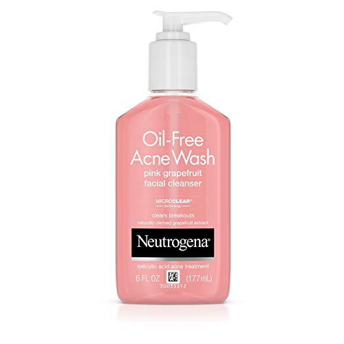 Neutrogena Oil-Free Salicylic Acid Pink Grapefruit Pore Cleansing Acne Wash and Facial Cleanser with Vitamin C, 6 fl. oz