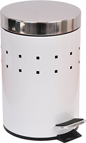 EVIDECO 6502100 Round Perforated Metal Bathroom Floor Step Trash Can Waste Bin 3-liters/0.8-gal- Stainless Steel Cover Color White