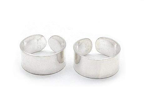 Sterling Silver Plain High Polish Huggie Ear Cuff Pair Earrings (Cuff Silver Polish High)