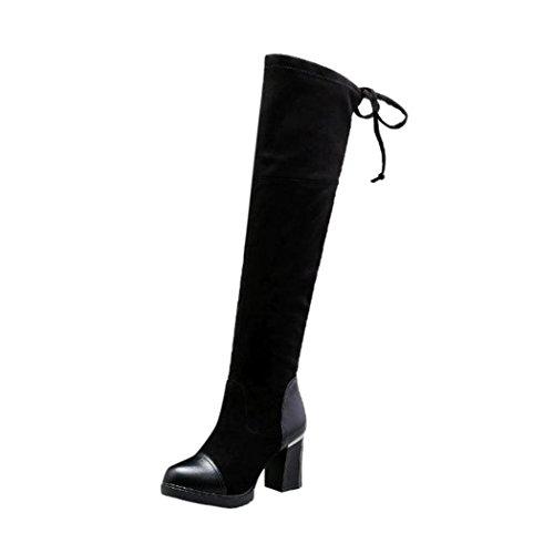 Elevin(TM) 2018Women Ladies Mid-heel Martin Boots Zipper Bandage Ankle Boots Knee-high Heels Shoes Black