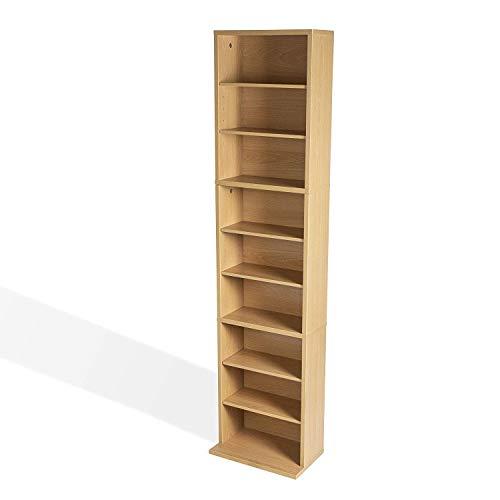 DK Furniture Adjustable Media Cabinet - Holds 261 CDs, 114 DVDs or 132 Blu-Rays, 6 Adjustable and 3 Fixed Shelves