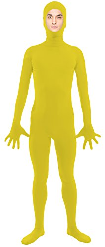[VSVO Adult Yellow Open Face Full Body Zentai Supersuit Costumes (X-Large, Yellow)] (Yellow Morphsuit)
