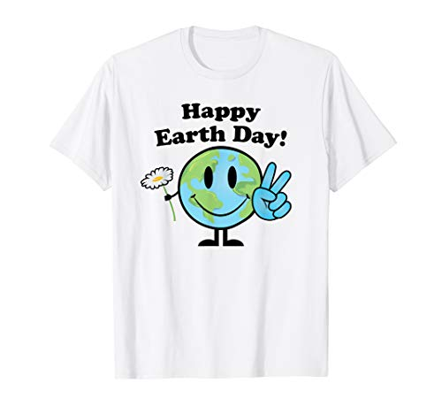 Earth Day Shirt Cute Peace Sigh Happy Earth with Flower -