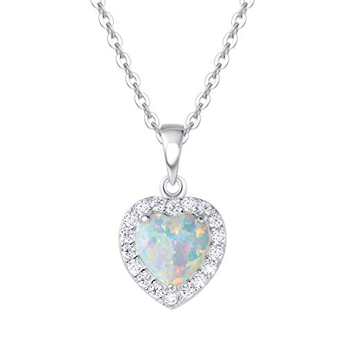FANCIME 925 Sterling Silver Heart Necklace White Created Opal Pendant Delicate Cubic Zirconia Jewelry for Women Girls