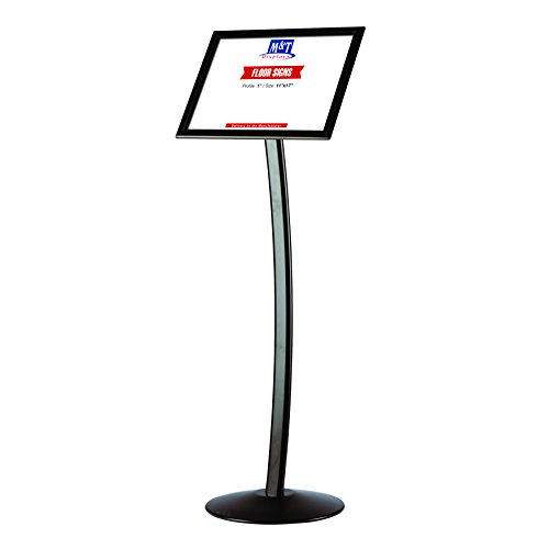 Holder Sign Curved Metal (11x17 Curved Advertising Business Sign Holder with Snap-Open reusable Frame - Black)