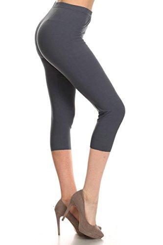 Leggings Depot Women's Popular Basic Capri Cropped Regular and Plus Solid High Waist Leggings (Plus (Size 12-24), Charcoal (Charcoal Grey Khaki)