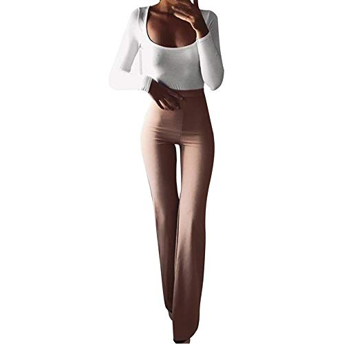 F_topbu Casual Pants for Women Skinny Solid Elasticity High Waist Leggings Slim Bell-Bottoms Pants Khaki ()