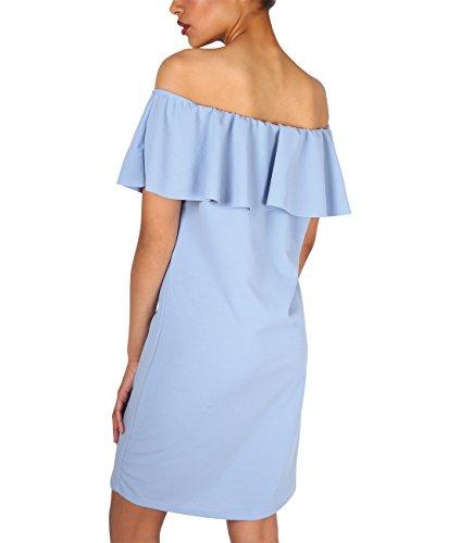 KRISP Vestido Mujer Azul Corto Cóctel Verano Volante Hombros Bardot Ajustado Azul