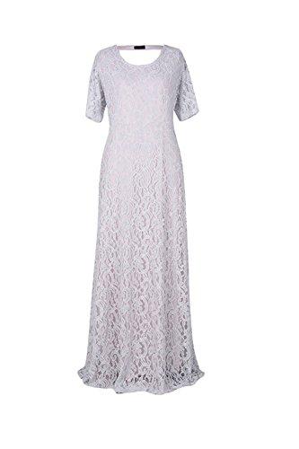 YACUN Mujeres Plus Size Lace Maxi Vestido Largo Vestido De Noche Formal White