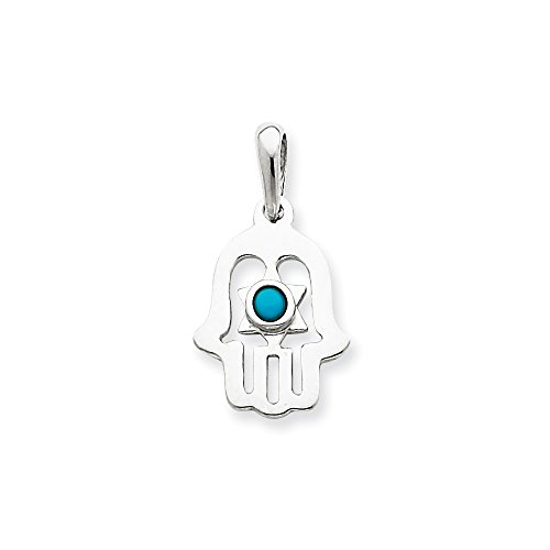 (14k Gold White Gold Turquoise Chamseh Pendant (0.98 in x 0.51 in))