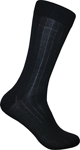 ECCO Men's 3-pair Rib Silk, Black, Sock Size: 10-13/Shoe ()