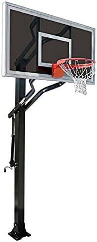 最初チームチャレンジャーEclipse steel-smokedガラスin ground調整可能バスケットボールsystem44、ネイビーブルー