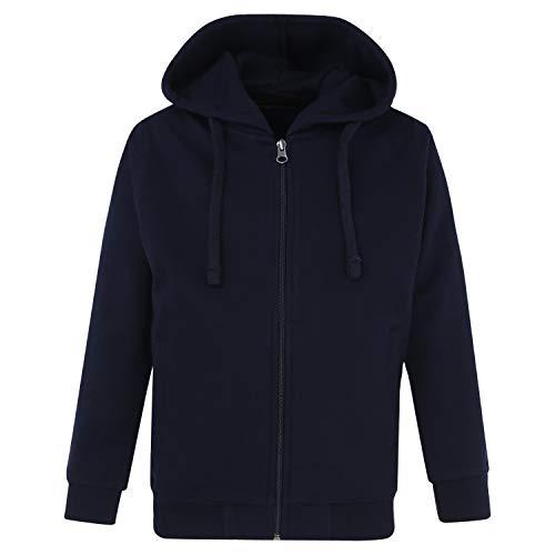 CAYMAN Boys Navy Blue Solid Hooded Sweatshirt