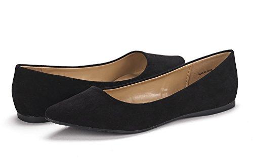 DREAM PAIRS Sole Classic Fancy Damen Casual Spitzschuh Ballett Comfort Soft Slip auf Wohnungen Schuhe Schwarzes Wildleder