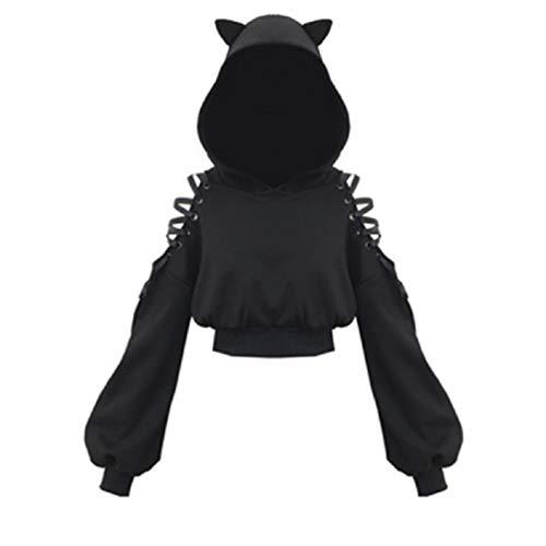 Womens Kat Oren Zwarte Hoodie Lange Mouw Sweatshirt Leuke Casual Hollow Out Pullover Korte Tops Blouse Crop