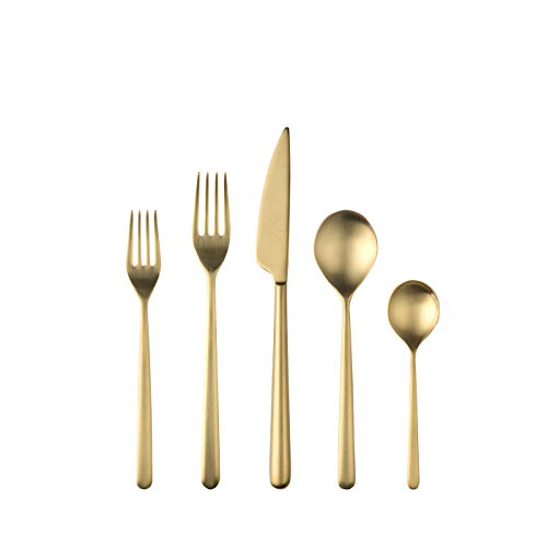 Mepra 108122005 Linea Ice Oro 5 Piece Place Setting, Brushed Gold