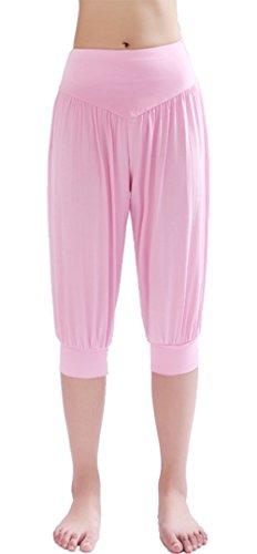 HOEREV Women's Super Soft Modal Spandex Harem Yoga Pilates Capri Pants Pink (Pink Soft Capris)