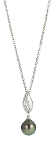 Adriana la Mia Perla Chaîne pour femme avec pendentif Stella di Notte Argent rhodié 925perle de Tahiti 45cm-n17.1
