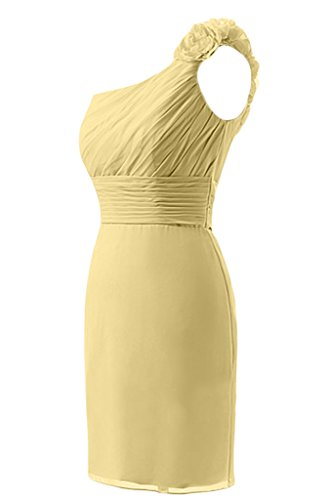 Abito Fodero Prom Yellow Una Cocktail corto Homecoming Chiffon Sunvary da spalla in qpXd44wg