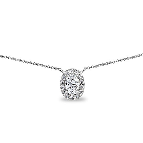 Sterling Silver Created White Sapphire Oval Halo Choker Necklace with CZ Accents Sapphire Oval Necklace