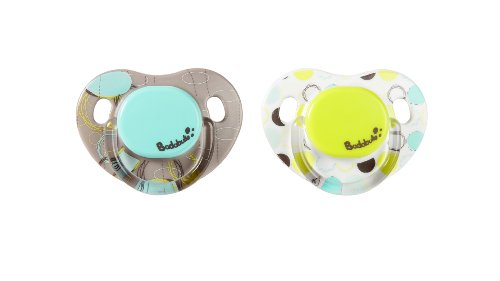 Pack of 2 6 to 12 Months Badabulle Glow in The Dark Physiological Pacifiers Moon Dream