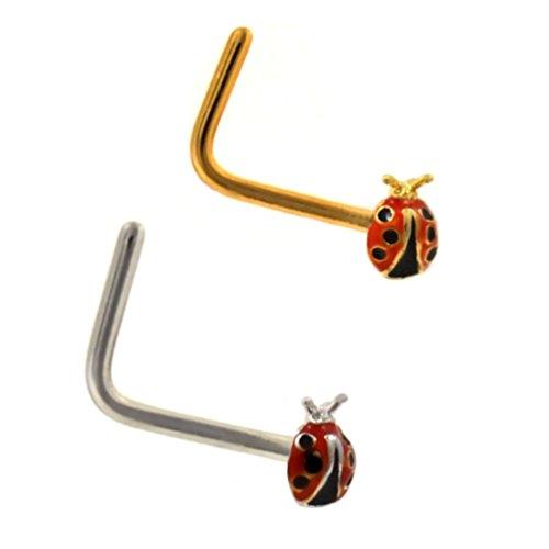 2-Pack Set Ladybug Steel Nose Rings 20G Bone or L-Shaped (L-Shaped) ()