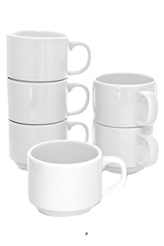 Set 6 Stacking Vitrified Porcelain 4oz Hotel Demitasse Espresso Coffee Cups ()