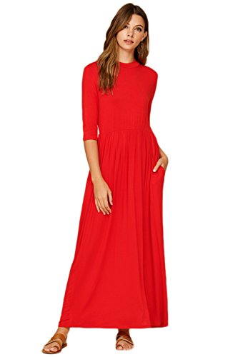 Annabelle Women's 3/4 Sleeve Long Maxi Dresses with Side Pockets Medium Red D5185