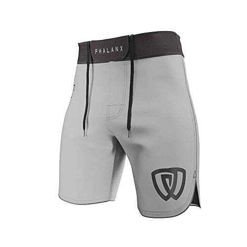 Phalanx Worlds Mens Ultralight Fight Shorts for BJJ MMA, Antimicrobial Competition Grade Jiu Jitsu Gear for Men, Brazilian Jujitsu Clothing Gi or No Gi, for Boxing Wrestling Crossfit, Gry/Blk - 30