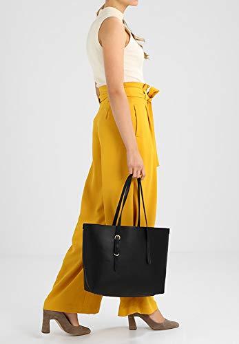 Negro Elegante Calidad Imitación Field De Metal Anna Para Bolso Cuero Detalles Mujer Alta Shopping Con Tote qZww8Xv