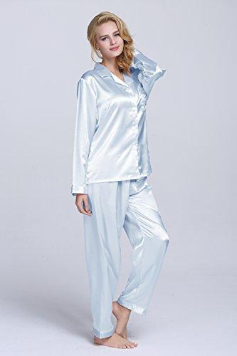 TONY & CANDICE Para Mujer Del Pijama De Satén Conjunto Azul claro