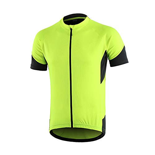 (Men's Cycling Bike Jersey, Short Sleeve MTB Shirts with 3 Rear Pockets- Breathable,Quick Dry, Non-Slip Biking Shirt (Yellow, M))