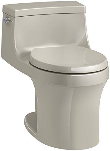 KOHLER K-4007-G9 San Souci Round-Front 1.28 GPF Toilet with AquaPiston Flushing Technology and Left-Hand Trip Lever, Sandbar, 1-Piece