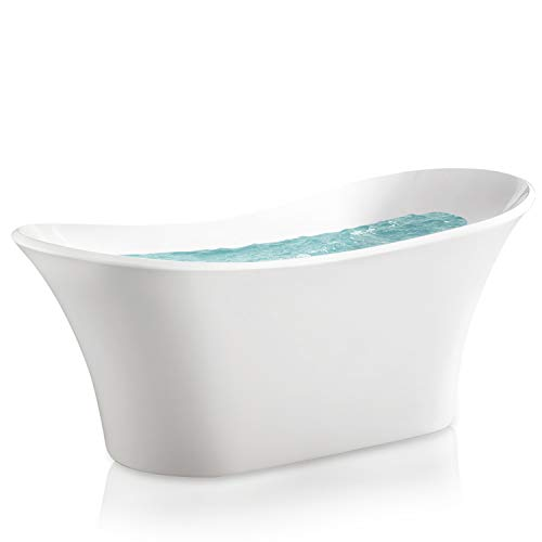 AKDY 71 Bathroom Freestanding Acrylic Smooth Glossy White Bathtub